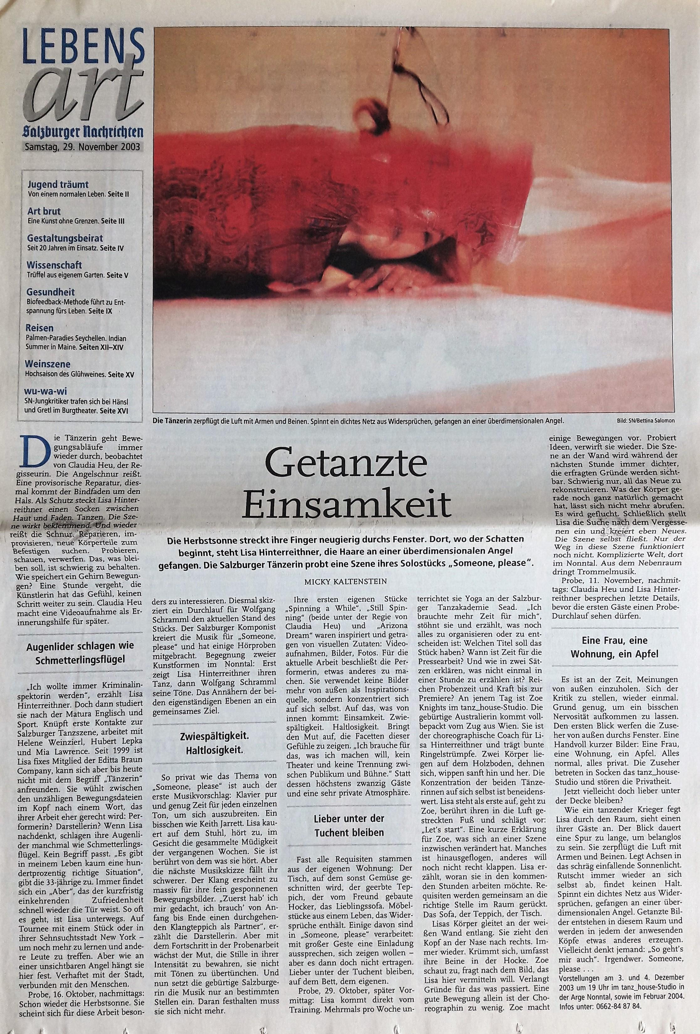 Getanzte Einsamkeit_SN Wochenende 2003_m kaltenstein